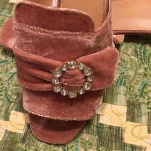 a new day Shoes - Size 10 A New Day Pink Velvet/Rhinestone Slides